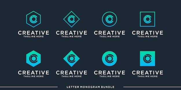 Inicial del monograma abstracto creativo Vector Premium