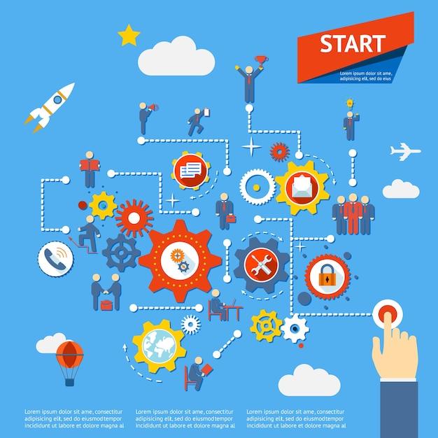 Iniciar el proceso de negocio diagrama de infografías ilustración vectorial vector gratuito
