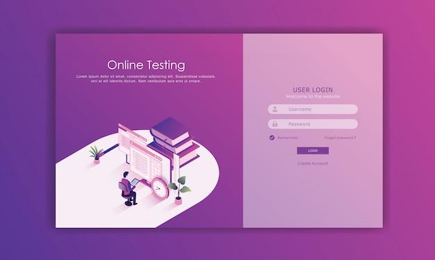 Iniciar sesión en el diseño de la página Vector Premium