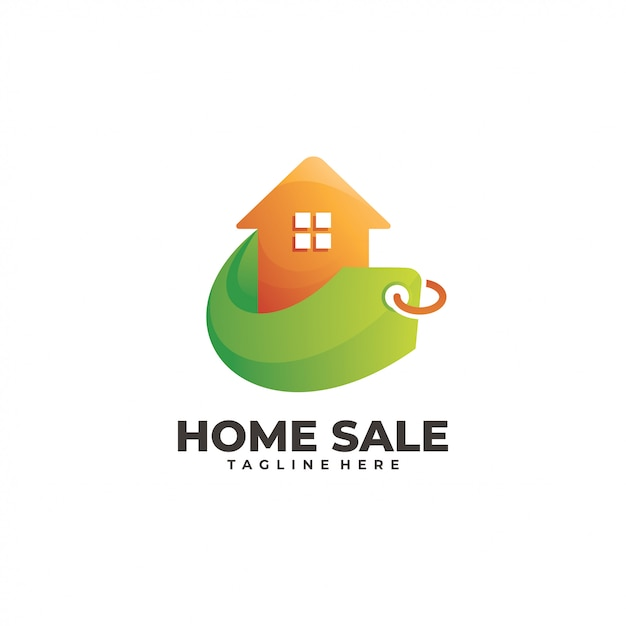 Inicio casa y precio de venta logo Vector Premium