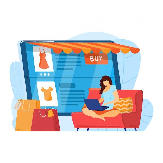 Inicio de compras de personajes femeninos, servicio de compra en línea web de internet aislado en blanco, ilustración de dibujos animados. mujer utilizar dispositivo informático moderno. Vector Premium