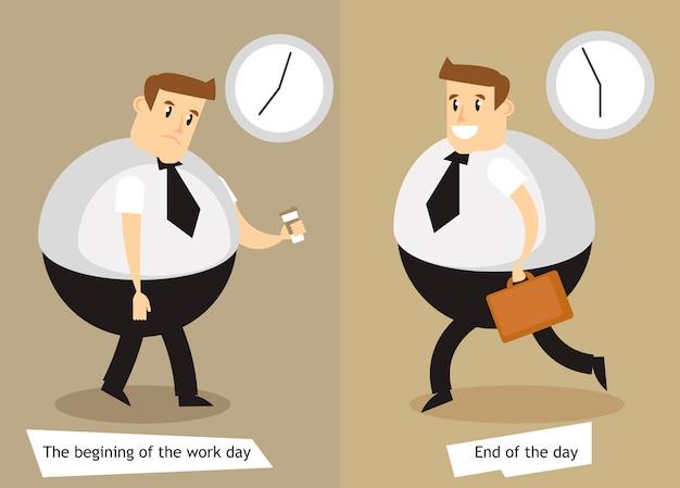 El inicio y fin de la jornada laboral. vector gratuito