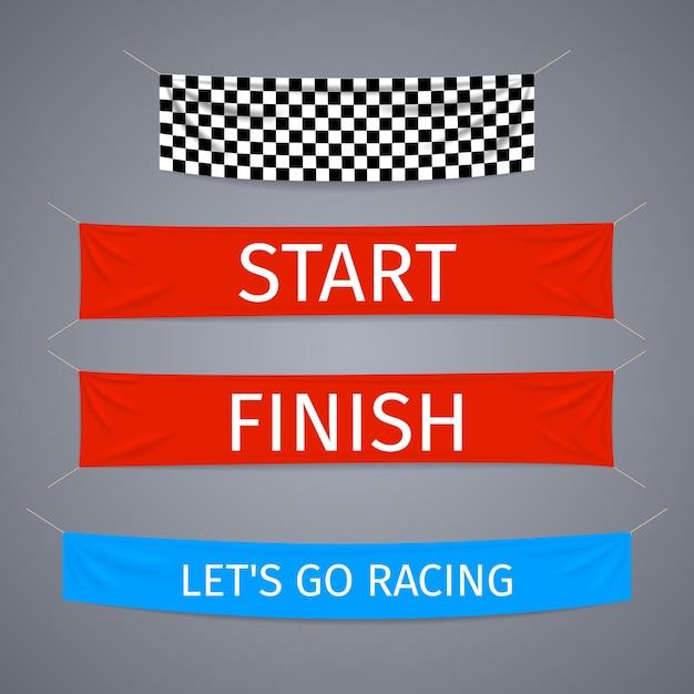 Inicio y finalización del conjunto de vectores de banners textiles. bandera de carrera deportiva, finalización de la competencia, éxito del ganador vector gratuito