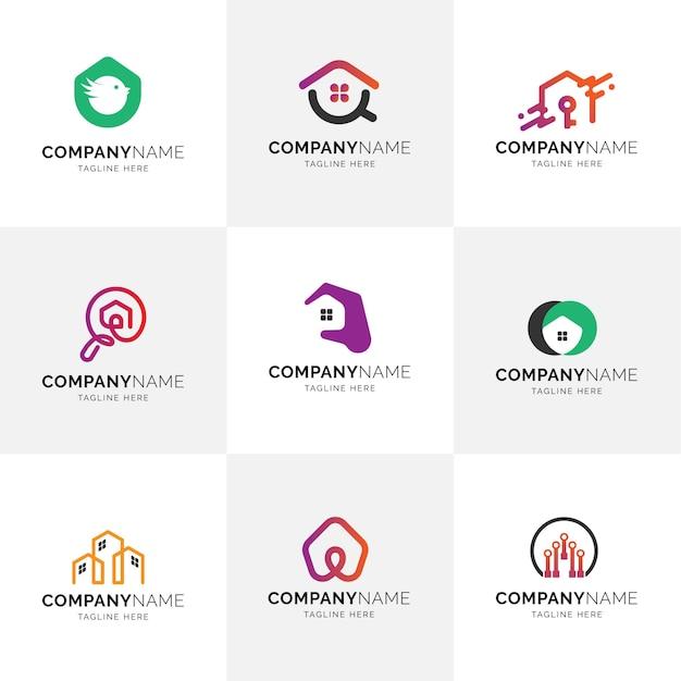 Inmobiliaria moderno piso minimalista casa propiedad gestión logotipos logos Vector Premium