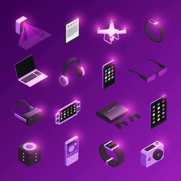 Innovadores dispositivos electrónicos de tecnología electrónica iconos isométricos con reloj inteligente de auriculares de realidad virtual púrpura vector gratuito