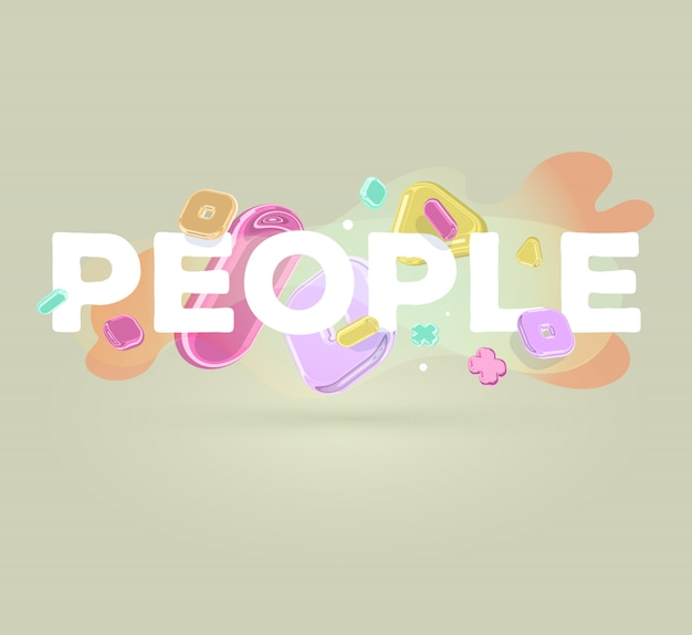 Inscripción moderna personas con elementos de cristal brillante sobre fondo claro con sombra. Vector Premium