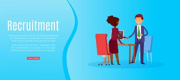 Inscripción de reclutamiento, tiempo completo, búsqueda de candidato, carrera empresarial, contratación de entrevistas, ilustración. el empleador contrata al empleado, la empresa de gestión, el empresario recluta al equipo. Vector Premium