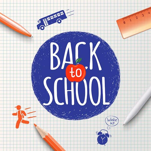 Inscripción de regreso a la escuela en el fondo de artículos de papelería escolar e iconos dibujados a mano. cartel de regreso a la escuela, antecedentes de educación Vector Premium