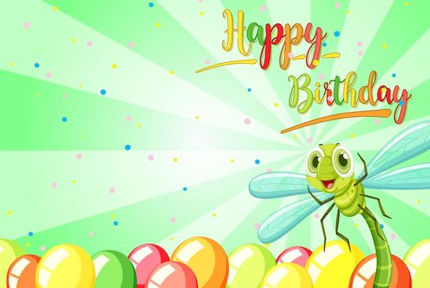 Insecto en la plantilla de cumpleaños vector gratuito