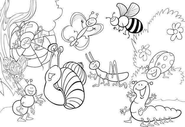 Dibujos De Insectos Para Colorear Para Ninos: Insectos De Dibujos Animados En El Prado Para Colorear