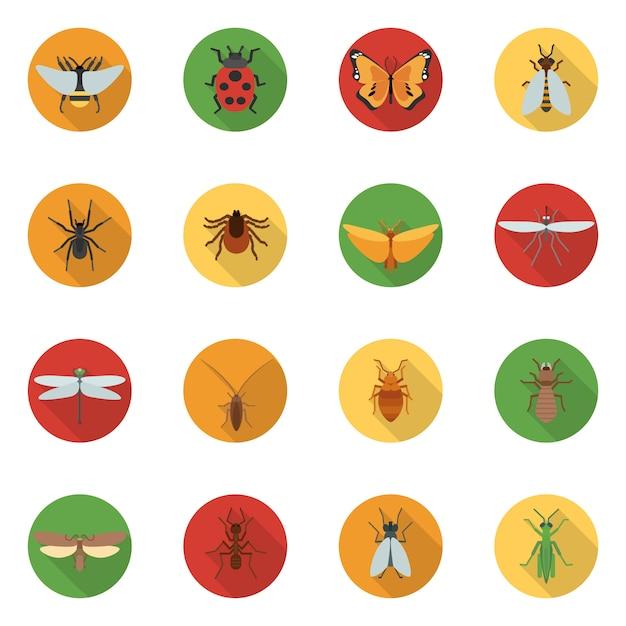 Insectos iconos planos vector gratuito
