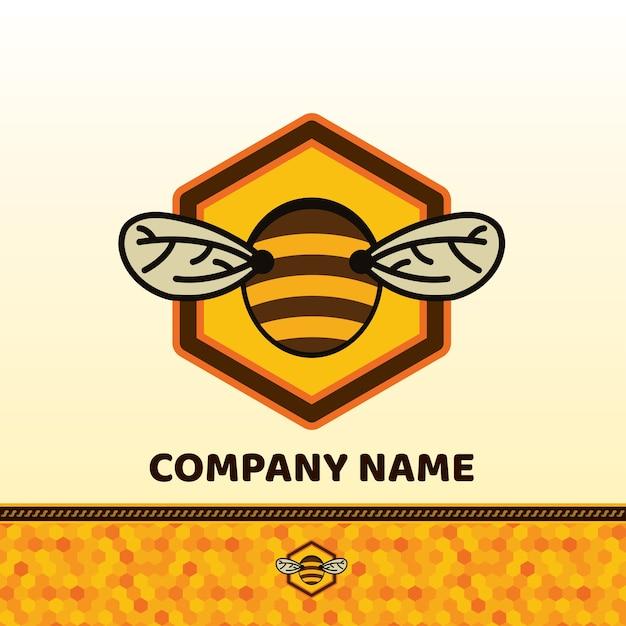 Insignia de abeja y etiqueta Vector Premium