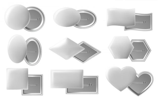 Insignia de botón en blanco. botones de alfiler realistas, alfiler de plástico o metal blanco con vista posterior clavada, insignias de alfiler brillantes. insignia de círculo de plástico, marco brillante ilustración en blanco Vector Premium