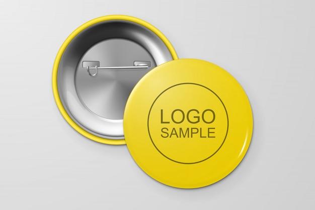 Insignia de botón en blanco. Vector Premium
