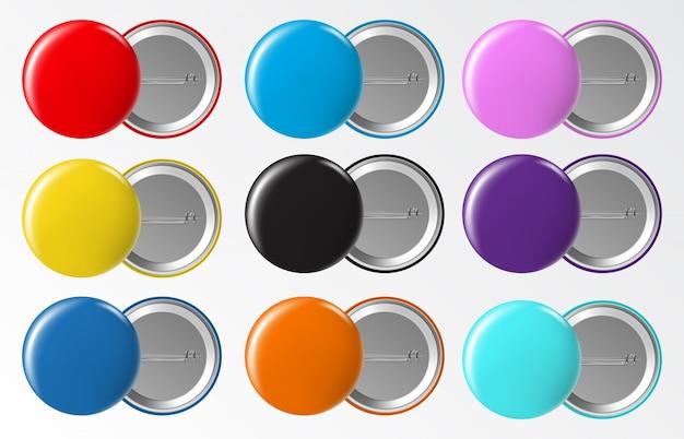 Insignia de botón de círculo. etiqueta de plástico o metal en blanco redondo en blanco, conjunto de alfileres de broche de colores brillantes. insignia de plástico y botón, ilustración de metal brillante de plantilla Vector Premium
