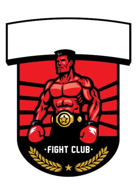 Insignia de campeón de boxeo aislado en blanco Vector Premium
