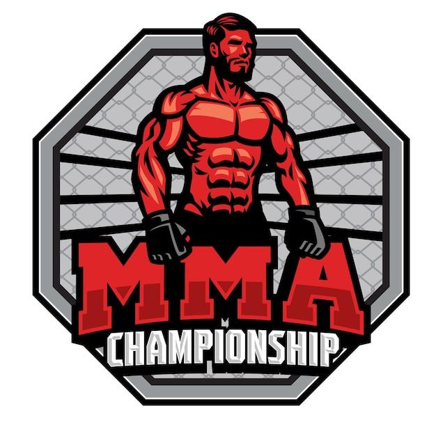 Insignia del campeonato de luchador de mma aislado en blanco Vector Premium