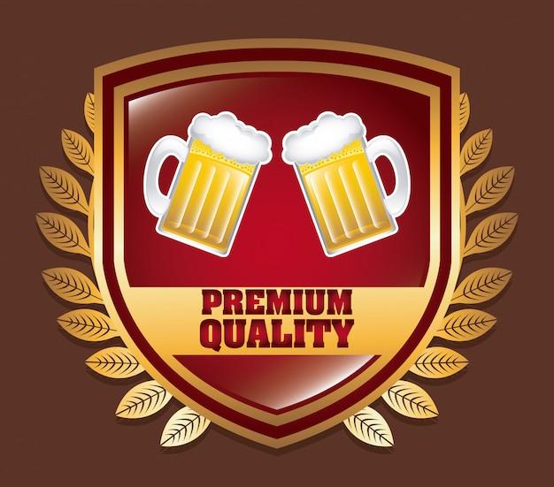 Insignia de cerveza sobre marrón vector gratuito