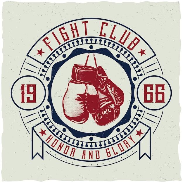Insignia del club de lucha vector gratuito