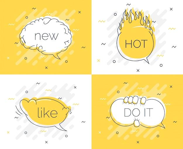 Insignia de consejos rápidos con burbujas de discurso Vector Premium