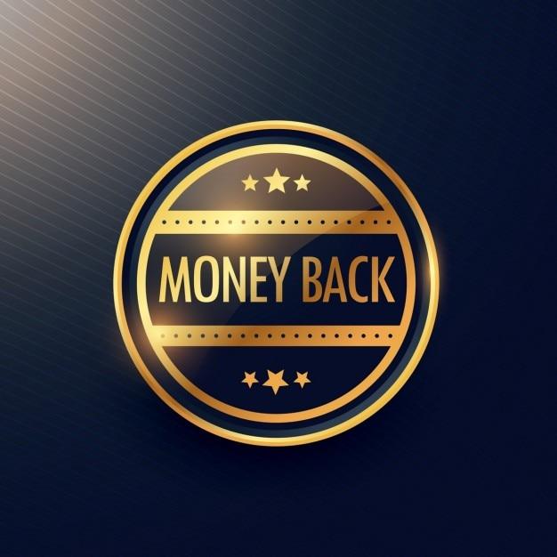 Insignia dorada, devolución del dinero vector gratuito
