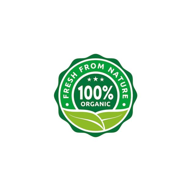 Insignia de etiqueta de sello de etiqueta de insignia natural 100% orgánica Vector Premium