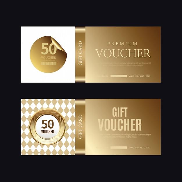 Insignia y etiquetas doradas de lujo, tarjeta de cupón Vector Premium
