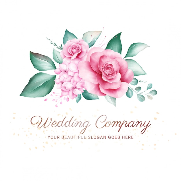 Insignia floral acuarela para logotipo o composición de tarjeta de boda. ilustración de flores prefabricadas Vector Premium