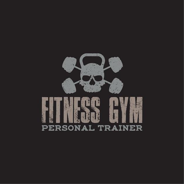 Insignia de logotipo de fitness y gimnasio Vector Premium