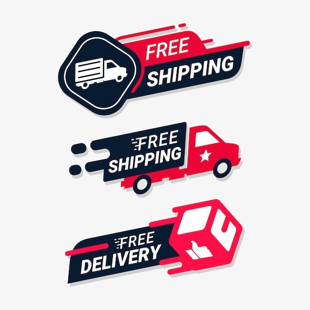 Insignia de logotipo de servicio de entrega de envío gratuito Vector Premium