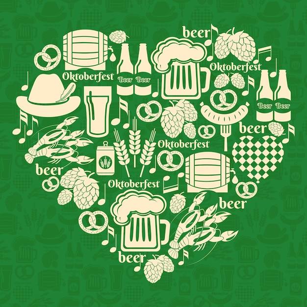 Insignia de oktoberfest de vector. me encanta el festival de la cerveza vector gratuito