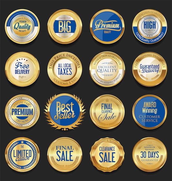 Insignia de oro retro Vector Premium