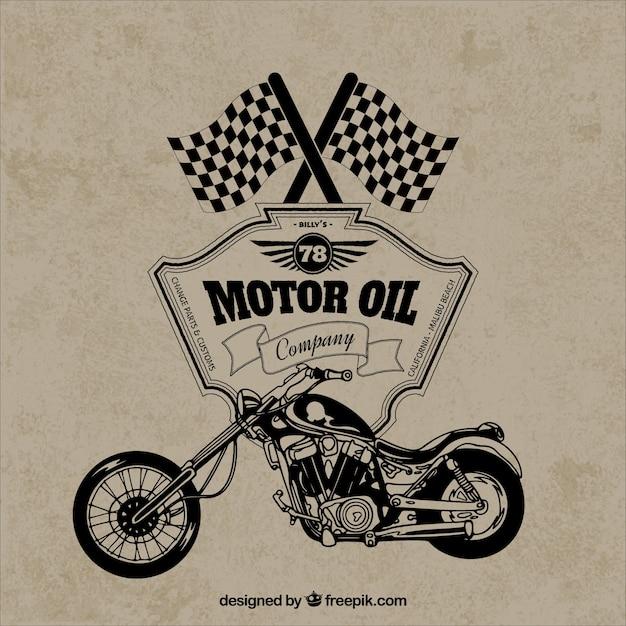 Insignia retro motocicleta vector gratuito