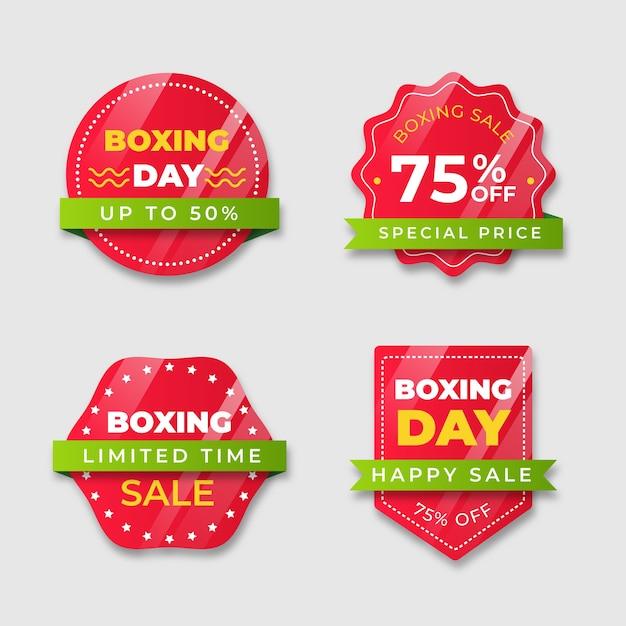 Insignia roja con tonos de cinta degradados del día de boxeo vector gratuito