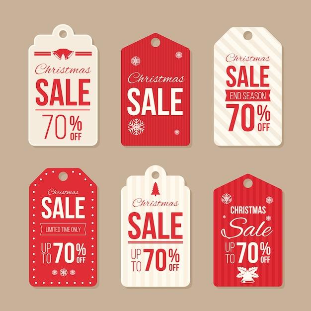 Insignia de venta de navidad y diseño plano de etiqueta vector gratuito