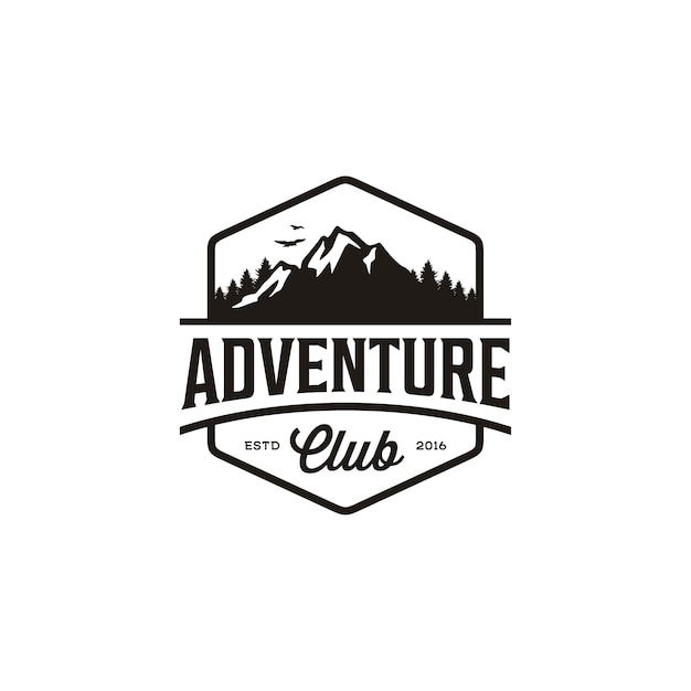 Insignia vintage de mountain adventure travel, diseño del logotipo de forest hill camp Vector Premium