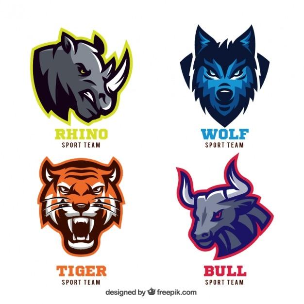 Insignias de animales para equipos deportivos vector gratuito
