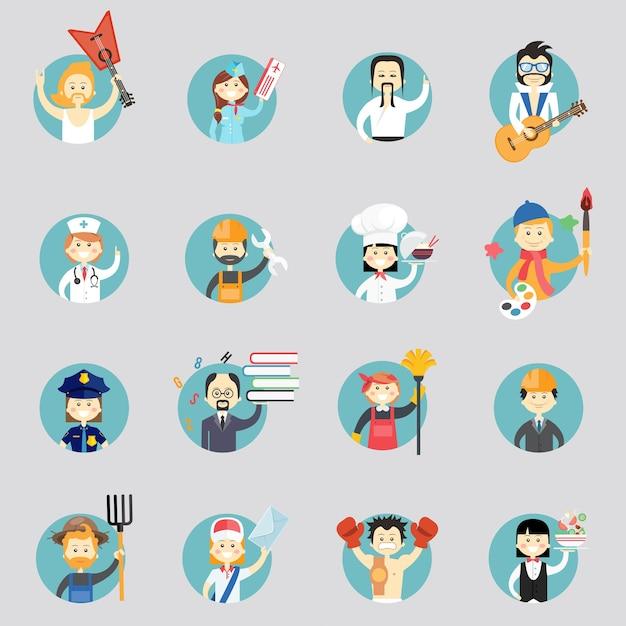 Insignias con avatares de diferentes profesiones con músicos artes marciales médico trabajador de la construcción chef artista mujer policía profesora limpiador arquitecto granjero cartero y camarera vector gratuito