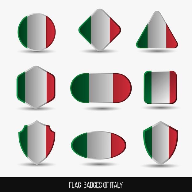 Insignias de la bandera de italia Vector Premium