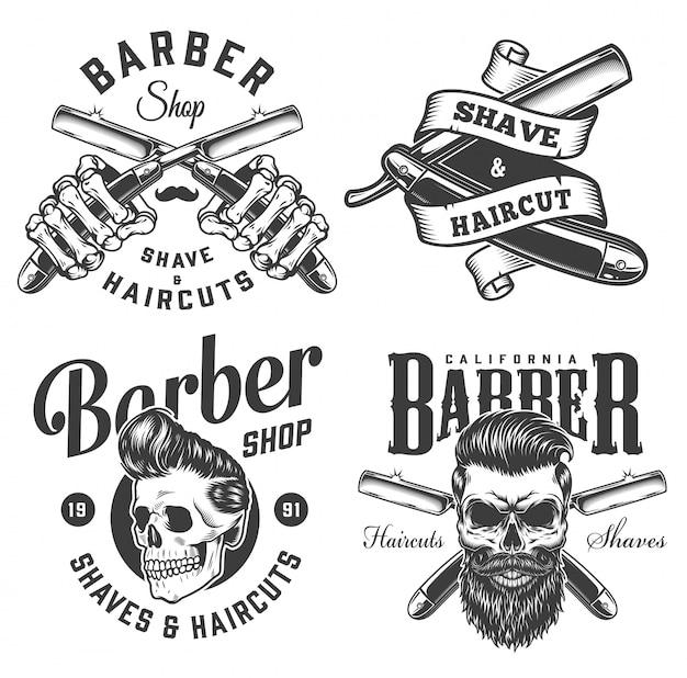 Insignias de barbería monocromáticas vintage vector gratuito