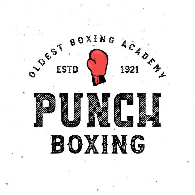 Insignias de boxeo vintage - logo con guantes de boxeo. cartel retro en vintage Vector Premium