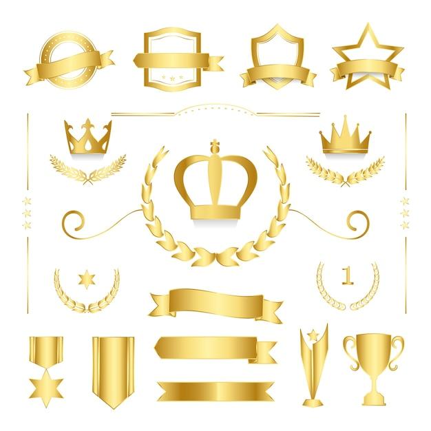 Insignias de calidad premium y vectores de colección de banners. vector gratuito