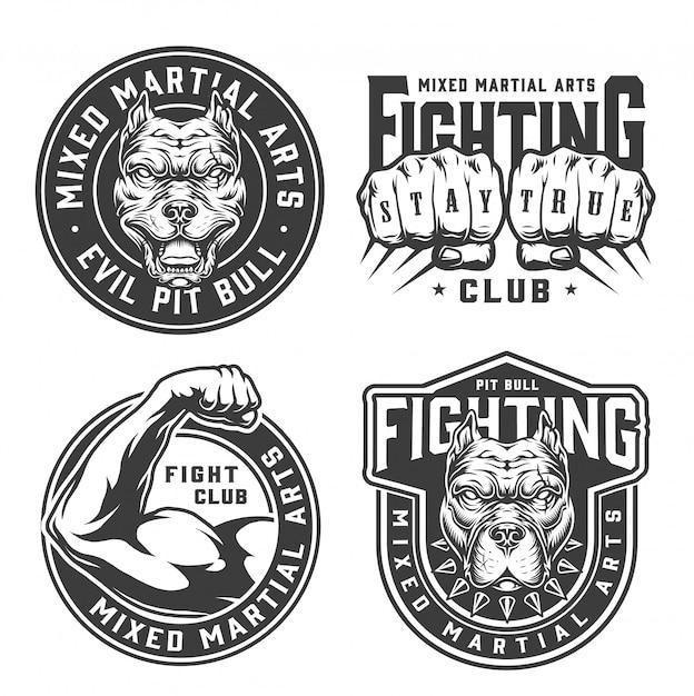 Insignias de club de lucha monocromo vintage vector gratuito