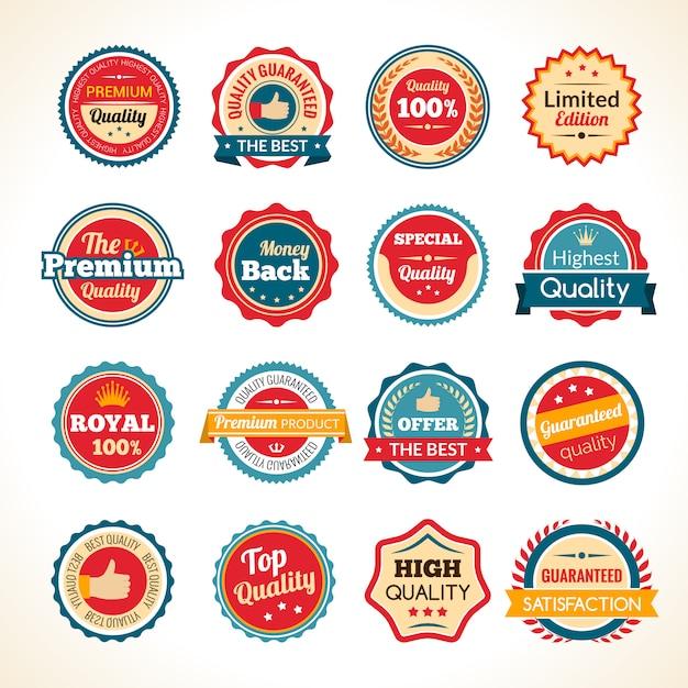 Insignias de color de calidad premium vintage vector gratuito