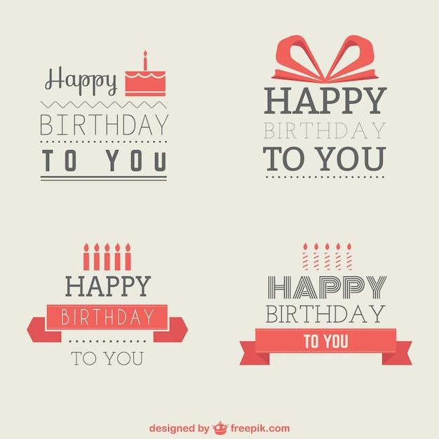 Insignias de cumpleaños minimalistas vector gratuito