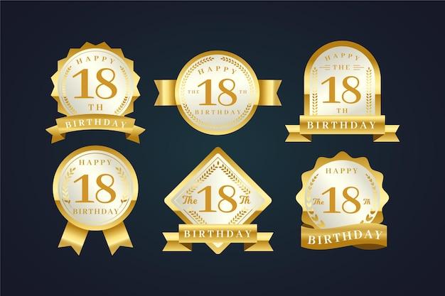 Insignias de cumpleaños número 18 Vector Premium