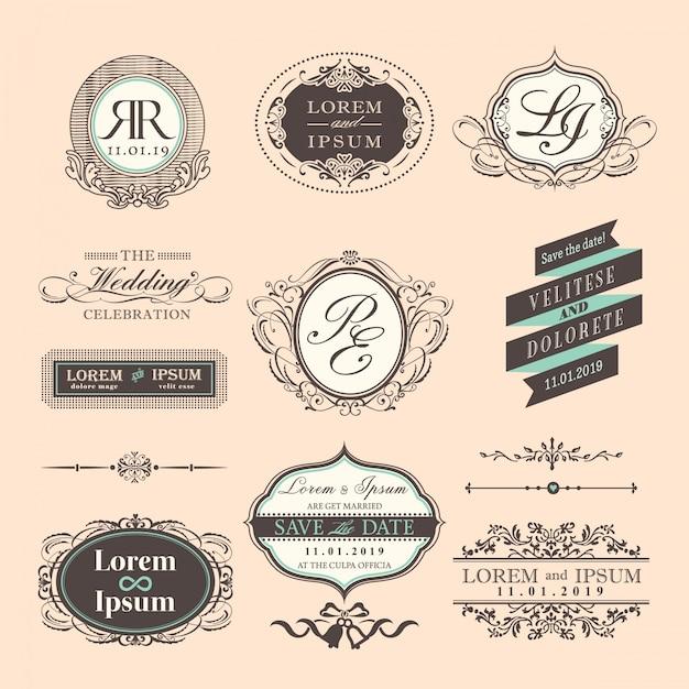 Insignias de boda con ornamentos, estilo vintage Vector Gratis