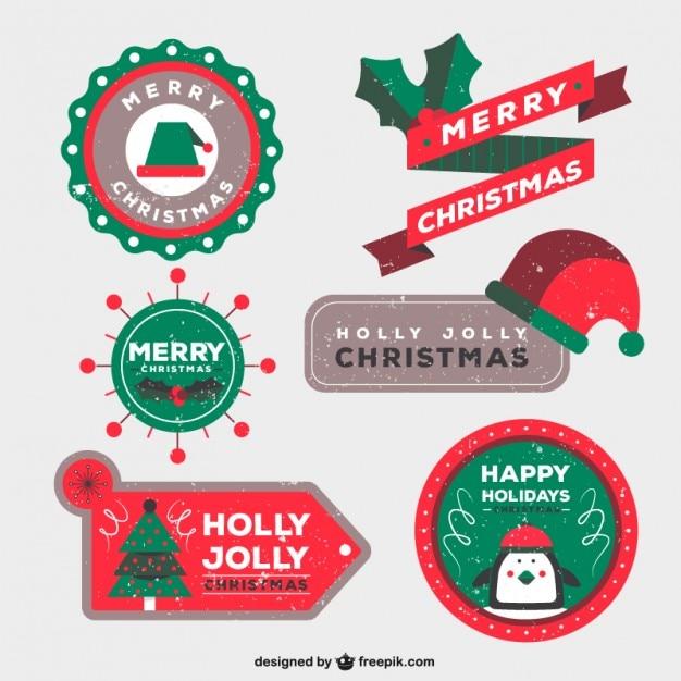 Insignias de navidad en estilo estampado | Descargar Vectores gratis