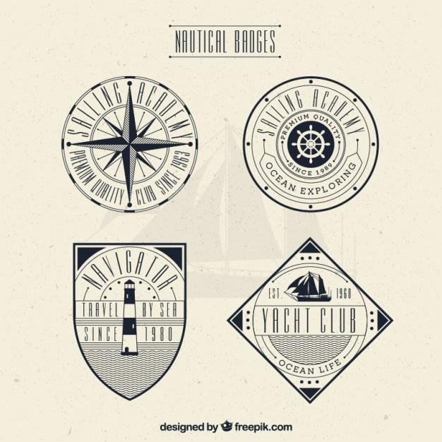 Insignias decorativas vintage de navegación vector gratuito
