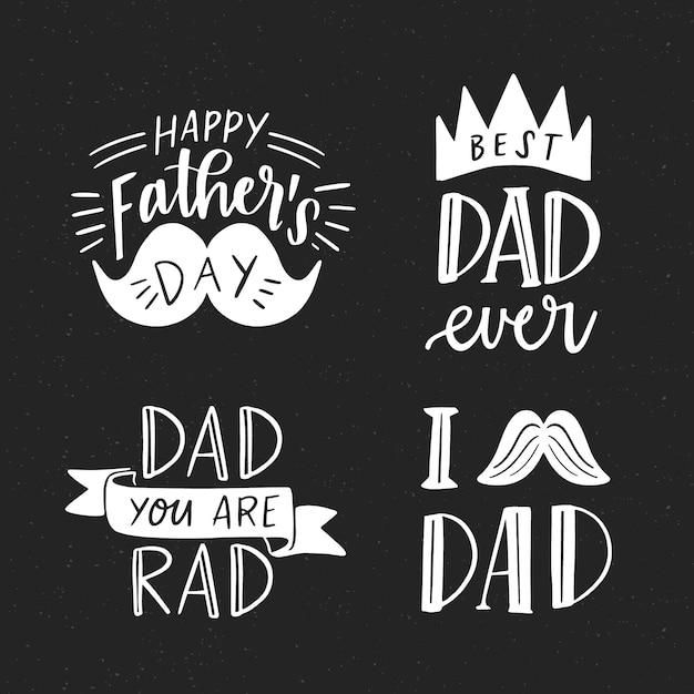 Insignias del día del padre dibujadas a mano vector gratuito